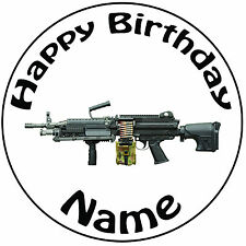 Military Army Machine Gun Personalised Round Icing Cake Topper - Easy Pre-cut