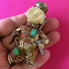 Excellent HAR© PIN Laughing BUDDHA Smiling Chinaman Coolie Rhinestone Brooch!