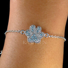 w Swarovski Crystal ~Aqua Blue Pawprint~ Paw Print Dog KITTY CAT Kitten Bracelet
