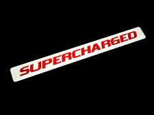 2 SUPERCHARGED SUPER CHARGED ENGINE FENDER HOOD EMBLEMS BADGE RED SILVER PAIR