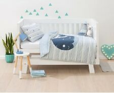 Cot Reversible Quilt Doona Cover Pillowcase WHALE Blue bed COT Size baby Kids