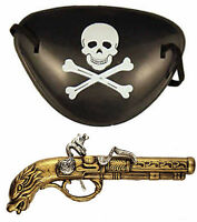 Pirate Highwayman Buccaneer Musketeer Musket Gun Pistol + Eye Patch Fancy Dress