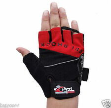 CHZL Mens Stretchable Soft Fingerless Gel GLOVES Driving Sports Bike RED - Med