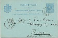 """NL 1891 König Wilhelm III 5 C. blau Kab.-GA-Postkarte """"ARNHEM"""" nach """"STUTTGART"""""""