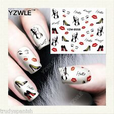 Full Wrap Water Transfers Nail Art Stickers Decals Marilyn Monroe Red Lips 58