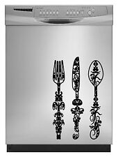 Silverware Floral Sticker Decal Dishwasher Refrigerator Washing Machine Stove