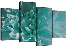 Large Teal Floral Flowers Canvas Wall Art Pictures XL Prints Set 4103