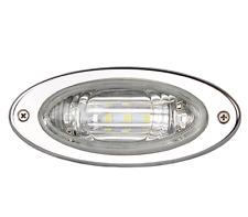 Marine Boat Flush Mount Oval LED Docking Light Stainless Steel Bezel Watertight