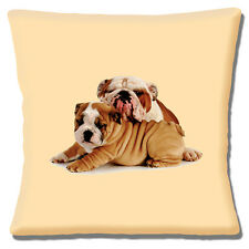 "NEW ENGLISH BULLDOG ADULT LEANING ON CUTE PUPPY CREAM  16"" Pillow Cushion Cover"