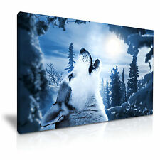 Wolf Howling Moon Canvas Wall Art Picture Print 76x50cm Special Offer