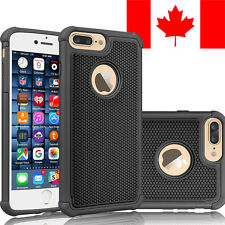 HARD + SOFT RUBBER SHOCKPROOF CASE COVER SHIELD FOR APPLE IPHONE 7 PLUS (BLACK)