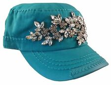 Olive and Pique Cascading Bling Cadet Cap!  Delicate Bling Rhinestone Flowers!!
