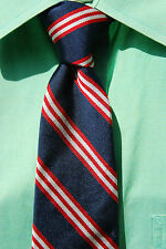 Lands' End Navy Blue, Red, & White Striped All Silk Organzine Extra Long Tie USA