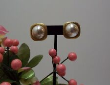 Christian Dior Pierced Earrings Jewelry Large Faux Pearl VTG. Signed