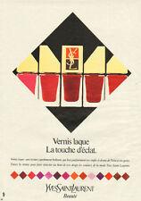 Publicité Advertising 1982   YVES SAINT LAURENT vernis à ongles laqué