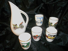 GIEN Pitcher and 5 cups with antique car on the front Made in France