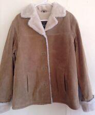 Adler Collection Coat Jacket Designer Camel 100% Leather Fur Lined NWOT Medium