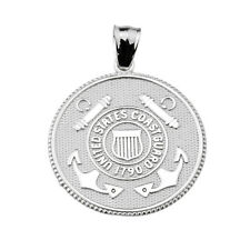 925 Sterling Silver US Coast Guard Two Sided Coin Pendant