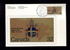 OPC 1984 Canada Papal Visit 32c FDC Card Sc#1030