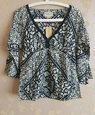 Ralph Lauren denim supply women 3/4 sleeve hippie top printed voile SZ:XS BNWT