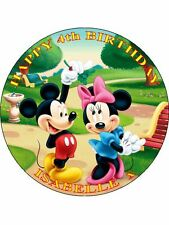 "MICKEY MOUSE - DESIGN 5  PERSONALIZED 7.5"" CIRCLE ICING CAKE TOPPER"