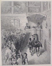 Doré - London; 'A Sale At Tattersall's', Antique Wood Engraving, C.1870