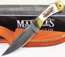 Marbles Knives Damascus Mini Hunter Stag Bone Skinning Hunting Knife w/Sheath