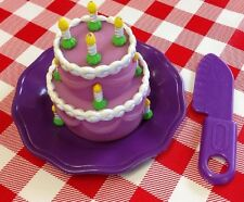 VTG  Pretend Play Food Party WEDDING CAKE �� Candles Knife Plate