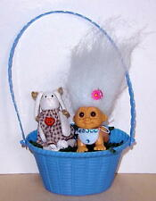 """RUSS 2"""" TROLL DOLL CRAWLING BABY RUSS CERAMIC BUNNY EASTER BASKET GIFT VG COND."""