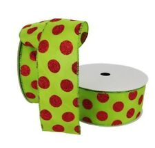 "50 Yard Roll 150 Ft Lime Green w/ Red Polka Dot Glitter Wired Ribbon 2.5"" Wide"