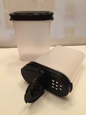 TUPPERWARE Large Spice Shakers Set Of 2 Clear With Black Seals New