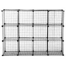 Black 3-Foot by 4-Foot Mini Grid Organizer Grid Wire Storage Cube Display Rack