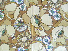 "VINTAGE PAIR 1970s READY MADE CURTAINS TATTON BEVIS FABRIC FLOWER POWER 45""/17"""
