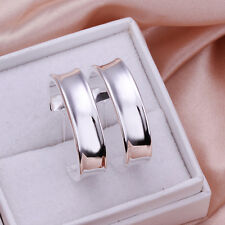 Free shipping wholesale sterling solid silver circle hoop Earrings XLSE078