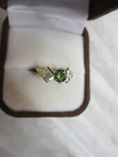 GORGEOUS ESTATE 18 KT GOLD 1.34 CTW FANCY GREEN DIAMOND RING !!!!!!!