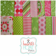 "Designer Fabric 5"" Squares Charm Pack, Lime Green and Pink, 56 pcs, 100% cotton"