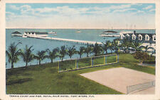 Old postcard Fort Myers, FL, Tennis Court and Pier, Hotel Royal Palm