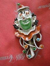 "1960s FLORENZA Orange & Green 3"" CIRCUS CLOWN Pin Brooch, Compare @ $70 LQQK!"