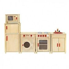 Viga Kids Wooden Kitchen Set - Fridge/Microwave/Oven/Washing Machine AND Sink