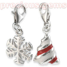 Sterling Silver Snowflake & Christmas Tree Clip On Charms (Source Brand)