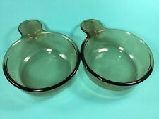 2 Vintage Corning Ware Amber Visions GRAB IT Bowls #150-B Brown Glass Soup USA