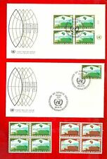 2 U. N. UNIVERSAL POSTAL UNION Bldg. Blocks of 4 & Geneva Inscription Block FDC+