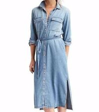 NWT GAP 1969 long denim shirtdress, Medium Indigo SZ XL    #461178