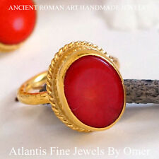 GENUINE CORAL RING STERLING SILVER HAND FORGED BY OMER HANDMADE TURKISH JEWELRY