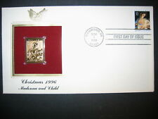 1996 CHRISTMAS MADONNA AND CHILD 22kt Gold GOLDEN Cover replica STAMP