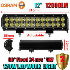 "OSRAM 120W 12Inch 12"" LED Flood Work Light Bar Offroad Driving 4WD Truck ATV SUV"