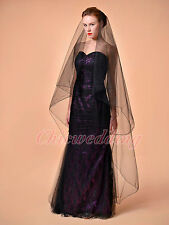 1T Black Cathedral Length Lace Edge Wedding Bridal Veil Gothic Veil 207