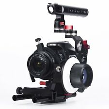 15mm Rod Rig DSLR Video Cage +Top Handle Grip + Follow Focus for Canon Nikon 5D