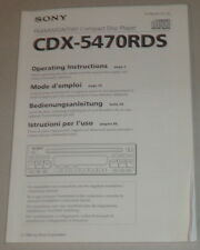 Manuale di istruzioni/operating Instructions Sony Autoradio cdx-5470rds STAND 1994