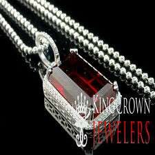 Rick Ross Mens Garnet Red Emerald Cut Gemstone Silver Pendant Finished In White